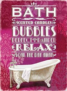 Bath Bubbles Relax small steel sign 200mm x 150mm (og)